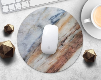MousePad Marble Mouse Pad Blue Marble Brown MouseMat Round MousePad Idea Gift Print Mouse Mat Fabric Mice Desk Accessories Computer MousePad
