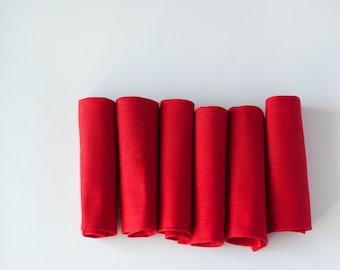 Red napkins - linen napkins - cloth napkins -  table red decor-reusable washable napkin set of 6    0259