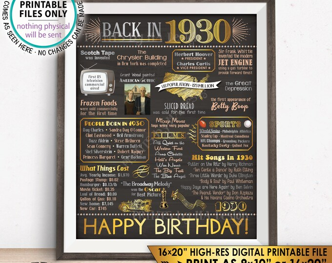 "88th Birthday Born in 1930 Birthday Flashback to 1930 Flashback Poster USA History Back in 1930, Chalkboard Style PRINTABLE 16x20"" Sign <ID>"