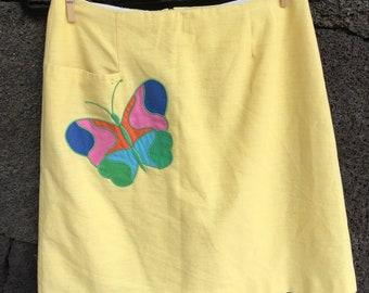 1980's Yellow Butterfly Skirt