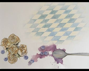 Blueberries, Roses and A Kitchen Floor | Watercolor + Ink