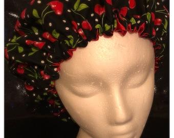 Cherry satin lined bonnet