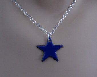 Cobalt Blue Star Enamel Sterling Silver Necklace