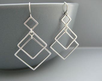 Square Dangle Earrings - silver art deco earrings, math teacher gift, engineer jewelry - Triple