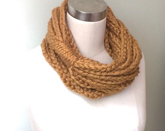 Honey Gold Scarf Necklace / Long / Chain Scarf / Mustard Scarf / Gold Chain Scarf / Crochet Scarf