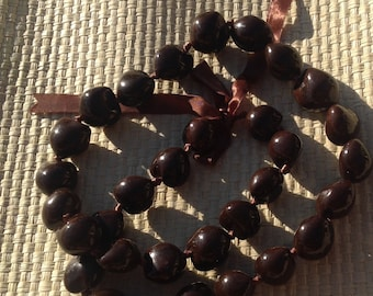 Brown Kukui Nut Lei Or Necklace..