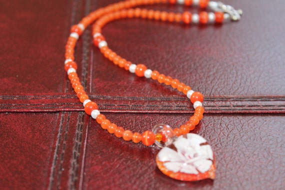 Orange Beaded Necklace, Lampwork Glass Heart, Wife Gift Idea, Orange Pendant Necklace, Anniversary Gift