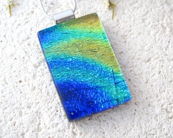 Dichroic Necklace, Gold Green Blue Necklace, Dichroic Pendant, Fused Glass Jewelry, Dichroic Glass Jewelry, Silver Necklace,   081216p103