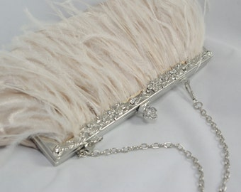 Champagne Clutch, Ostrich Feather Bridal Clutch, Champagne Wedding Handbag, Bridal Clutch, Champagne Bridesmaid, Great Gatsby Theme Flapper