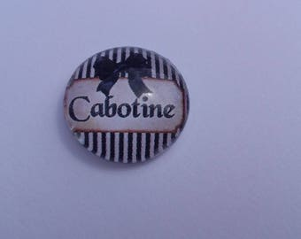 """Cabochon funny writing """"Showboat"""" by 20 mm round domed"""