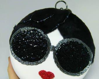 Leather clutch,handcrafted bag,evening clutch,party clutch,bridesmaid clutch,prom clutch,bridal clutch,embroidery bag,Unique clutch,bag