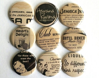 Random Vintage Ad Lines Button Vacations Mexico City Jamaica 1957 New Yorker Magazine party favors fridge magnets OOAK  #104