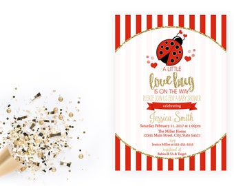Valentines Baby Shower Invitation - Lady Bug Invitation - Little Love Bug - Lady Bug Valentine Shower - Red and Gold - Printable