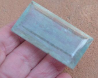 150.25ct 52mm Aquamarine faceted gemstone emerlad oblong rectangle 52 by 28.5 by 11mm