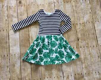 Baby dress // toddler dress // twirly dress // striped dress // palm leaves dress