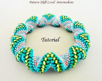 BUMPS Cellini spiral beaded bracelet beading tutorial and pattern seedbead beadwork jewelry beadweaving tutorial beading pattern instruction