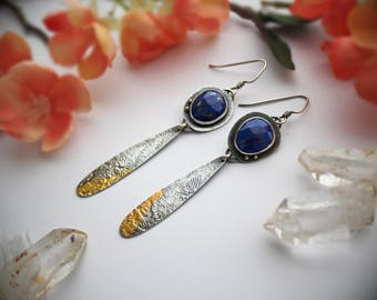 Lapis Lazuli, 24K Gold, & Sterling Silver Earrings - Rustic Artisan Gemstone Jewelry with Keum Boo - Silver and Stone Metalwork