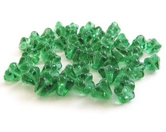 Prairie Green Czech Glass Baby Bell Flowers, 4mm x 6mm - 50 pieces