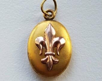 Gold Tone Fleur De Lis Charm or Pendant