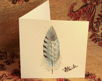 Blue Feather Card (Hand Painted)