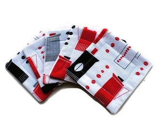 Handmade Quilted  Coasters set of Retro Coffee Pots Red Black White