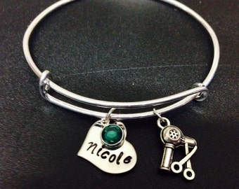 Personalized Hair stylist bangle bracelet,  hand stamped initial / name - Hair Stylist Gift - personalized, for Hair Dresser