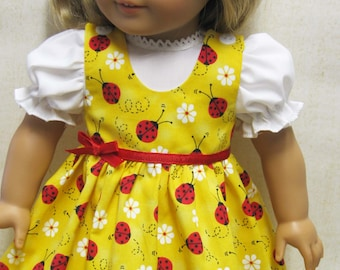 Red Ladybug Jumper with Blouse for 18 inch doll