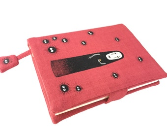 Spirited Away Note Book A6 size with Hand Painted No face on handloom fabric Cover