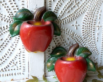Vintage Kitchen Chalkware Apple Wall Pockets - Arkansas Red Clay - Goat Hill, Ark.