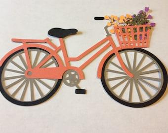 Layered Die Cut Bicycle with Basket