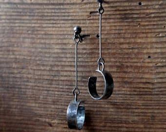 Long Silver Earrings, Silver Jewelry, Sterling Silver Earrings, Raw silver, black silver