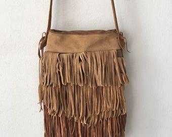 Suede brown fringe shoulder hand made bag size small .