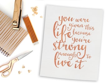 Digital Art - Printable Art - Printable Quote - Rose Gold Faux Foil - Inspirational Quote - Wall Art Quote - Wall Art Print - Wall Decor Art