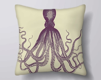 Vintage PIcture Octopus Sea Ocean  - Cushion Cover Case Or Stuffed With Insert