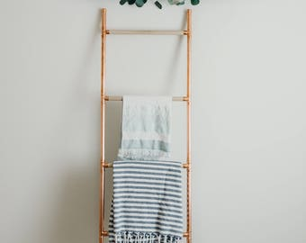 blanket ladder,  copper pipe blanket ladder, copper home decor
