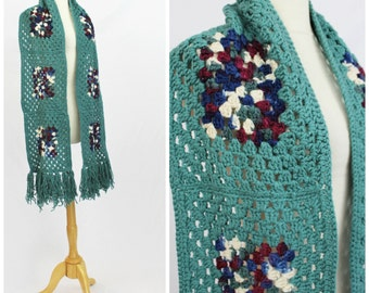 "Vintage 70's LONG Granny Square Hippie Boho Hand Knit Scarf Wrap 10"" x  88"" 7 ft"