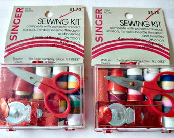 Singer Sewing Mending Kits in Original boxes 1970's Vintage Collectibles 2 Travel Sewing Kits