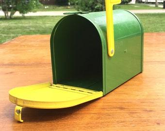 Vintage Metal John Deere Mailbox Bank