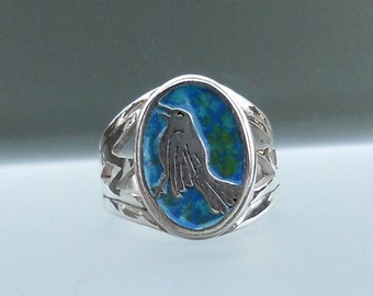 Singing blackbird ring in sterling silver and enamel