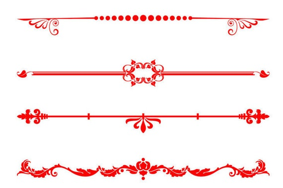 Red Decorative Text Dividers Valentine Clipart Text ... Red Straight Line Vector