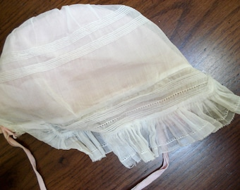 Sweet antique baby bonnet - antique white and pink - handmade lace