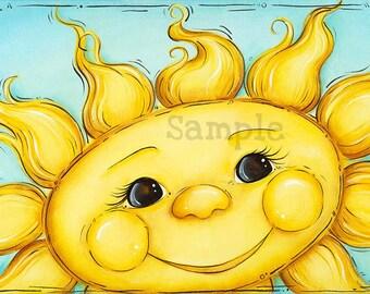 Sunshine Wall Art, Children's Wall Art, Sun, Nursery Wall Art, Bathroom Wall Art