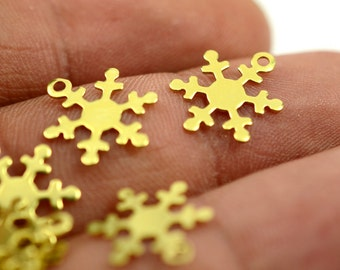 150 Pieces Raw Brass 12 mm Snowflake Charms , Findings
