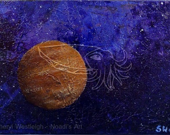 Curiosity in the Cosmos, 7x5 Original Acrylic Space Painting on Canvas Board
