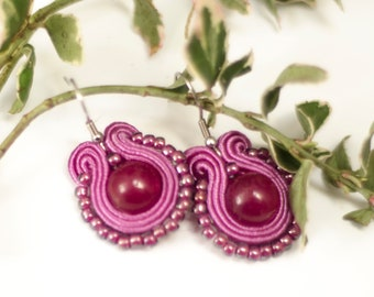 Berry violet earrings Small dangle soutache earrings Best friend gift From mum for daughter Litlle delicate textile earrings Hanging purple