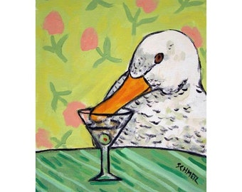 Duck at the Martini Bar Bird Art Print