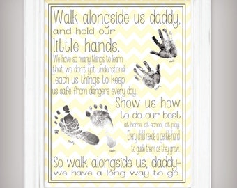 Walk Alongside US, Daddy - 11x14 Art Print - Personalize with your children's prints - Father's Day Gift - Yellow or Gray - Twins