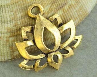 15%OFF 6pcs Lotus Flower Charms Meditation Namaste Zen Charm Yoga Boho Lotus pendant Antique Gold lead free Pewter Made in USA 19x16mm