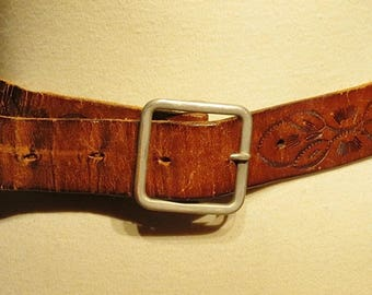 Distressed Vintage Tooled Leather Belt  003