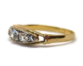 18k  5 Stone Old European Cut Diamond Ring, Antique 18k Gold Jewelry, Victorian Boat Shaped Ring Size 6 UK Size L/M